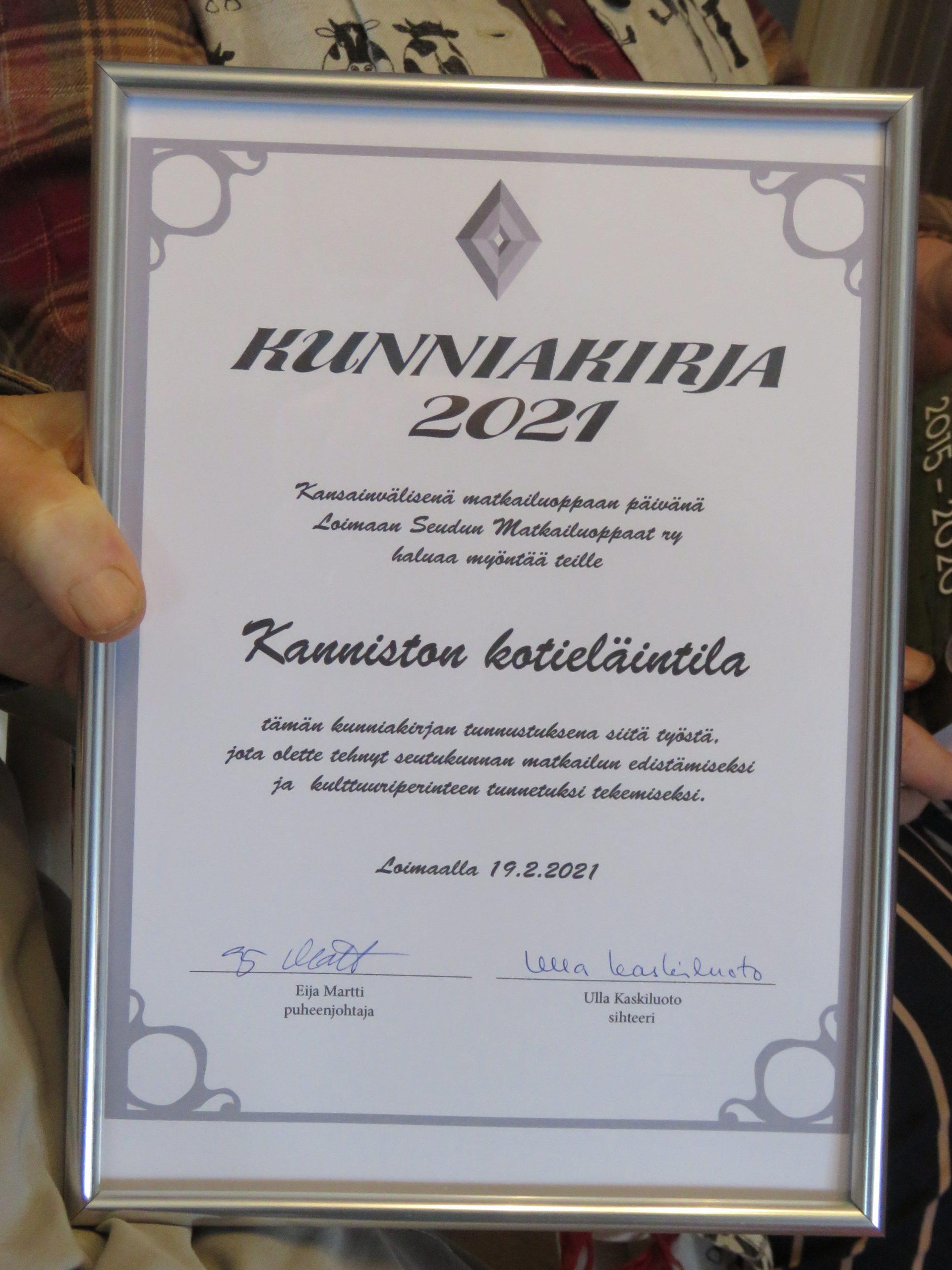 Read more about the article Kunniakirja Kanniston kotieläintilalle
