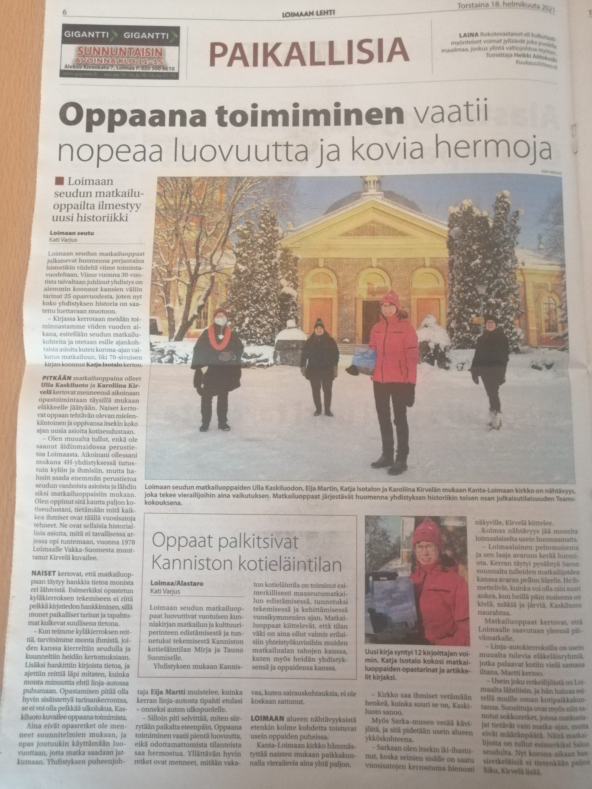 Read more about the article Oppaista juttu 18.2.2021 Loimaan lehti
